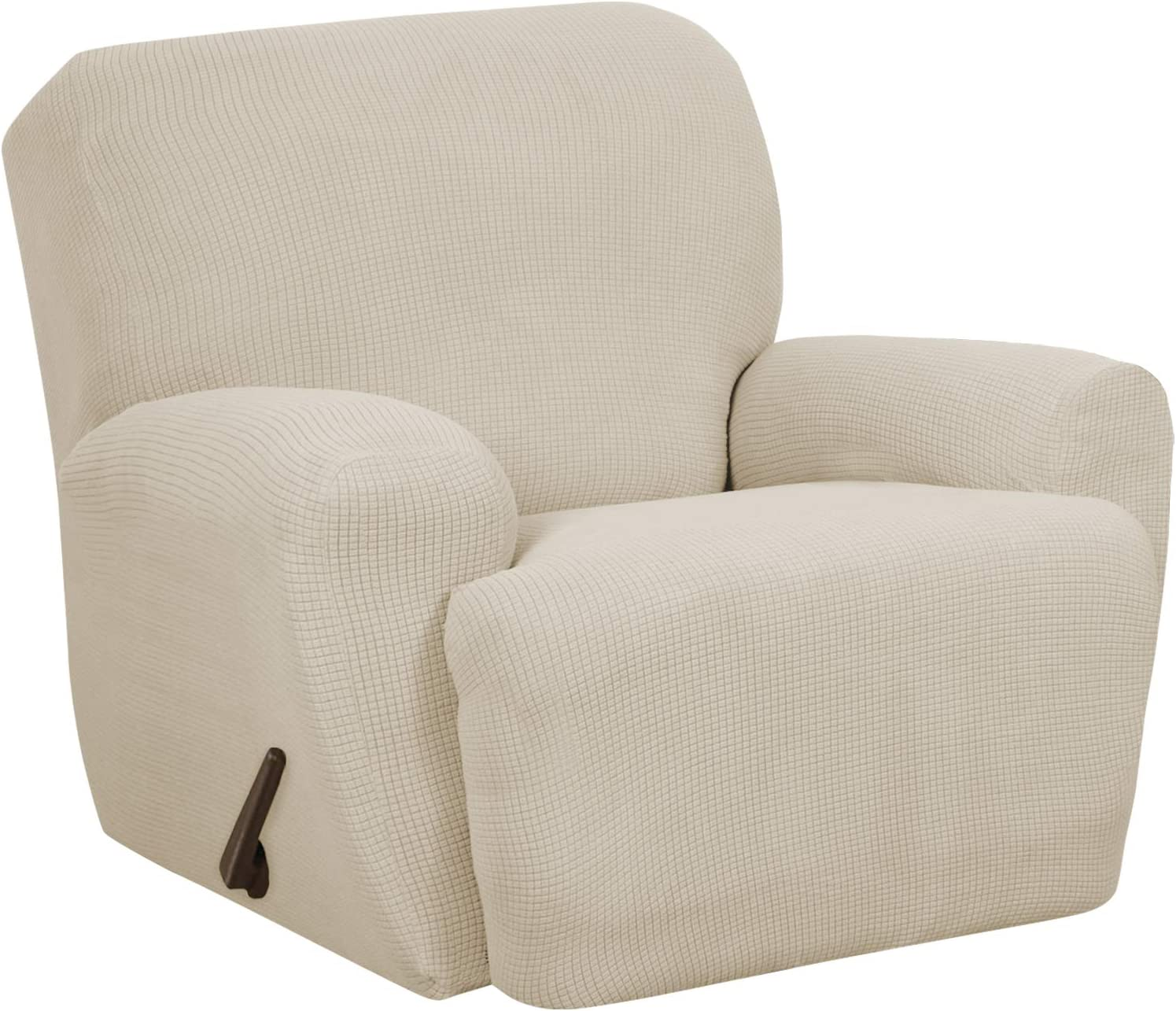 MAYTEX Reeves Stretch 4-Piece Recliner Arm Chair Furniture Cover/Slipcover with Side Pocket, Natural