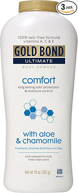 Amazon Com Gold Bond Ultimate Comfort Body Powder Aloe And Chamomile 10 Ounce Bottles Pack Of 3 Talc Free Powder Helps Control Odor And Absorb Moisture To Prevent Chaffing Health Personal Care