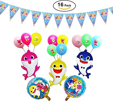 50pcs Shark Birthday Party Balloons Baby Cute Shark Family Balloons Shark Themed Birthday Supplies for Kids 1st Birthday Party Baby Shower Party Decorations
