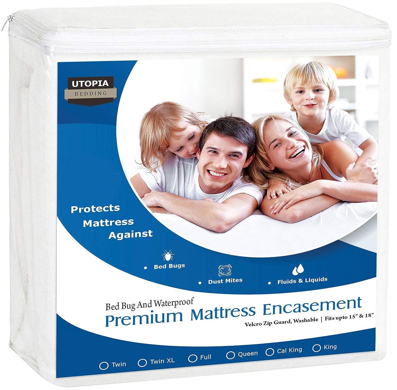 Utopia Bedding Premium Zippered Waterproof Mattress Encasement - Zipper Opening Mattress Protector (Full)