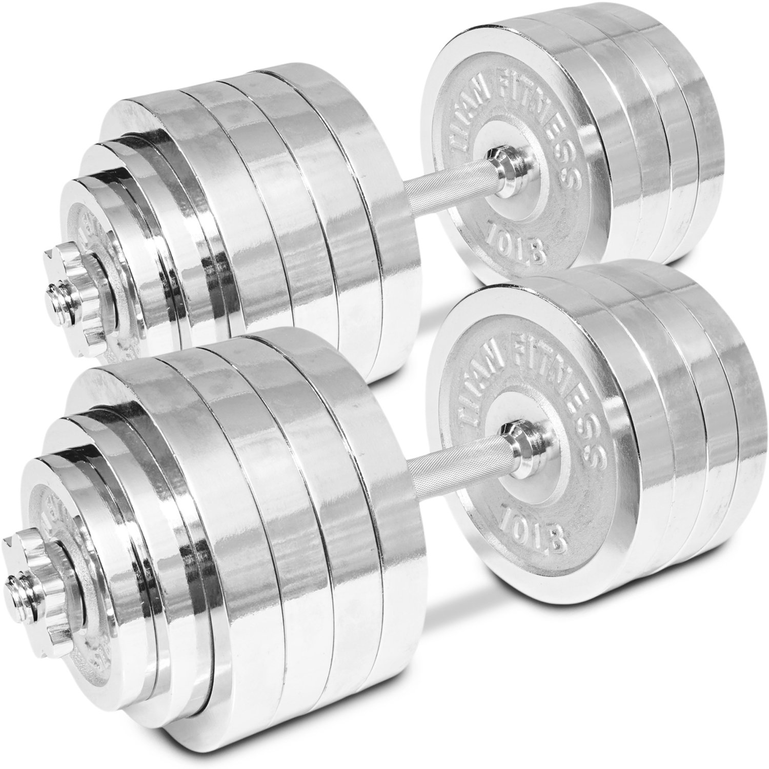 Titan Adjustable Weight Chrome Dumbbells Set 200 lbs Pair 100 lbs Dumbbell x 2pc by Titan Fitness