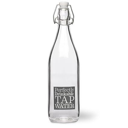 CKB Ltd® Estilo francés Mesa de Cristal Botella de Agua 1 L con Lema |