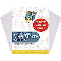 Printable Vinyl for Inkjet Printer (Matte White | Waterproof | 20 Sheets) - Inkjet Printable Vinyl Avoid Jams for…