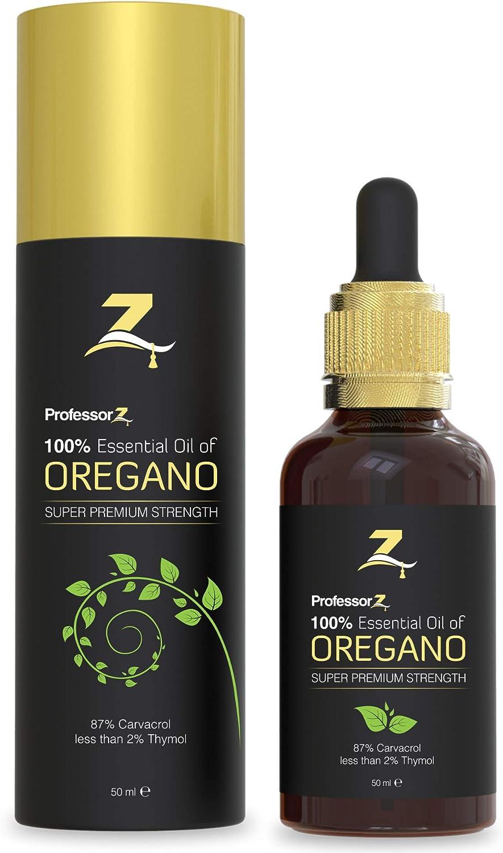 Aceite esencial de orégano de ProfessorZ | 87% de carvacrol mínimo | Botella grande de 50 ml | Ideal para el tratamiento de uñas fúngicas y como un refuerzo del sistema inmunológico
