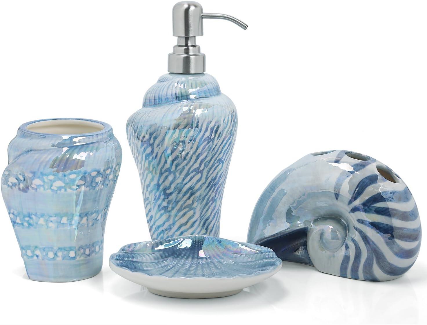 QQRH seifenspender Set Badezimmer Set Badezimmer zubeh/ör,aus Seifenspender,Zahnputzbecher-Badzubeh/ör,mit Seifenschaumspender wiederbef/üllbar,Keramik,stilvolles Bad Set