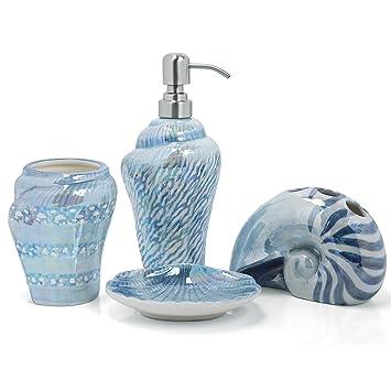 PEHOST Badezimmer Accessoires Set Keramik mittelmeer Schnecke Blau ...