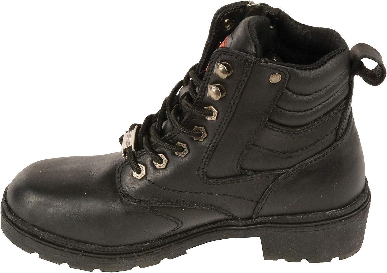 Milwaukee Leather Womens Wide Side Zipper Plain Toe Boots Black, Size 7.5W