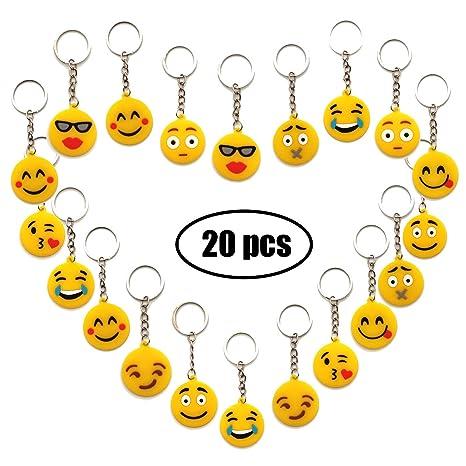 YuChiSX Emoji llaveros, Llavero decoración,Paquete de 20 encantadores Emoji Emoticon Llavero para niños, Fiesta de los niños favorece Suministros ...