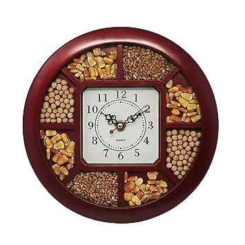 Cucuba® Reloj de pared para oficina/casa/locales, diseño vintage con semillas naturales/conchas, 23 cm de diámetro - Idea para regalo: Amazon.es: Hogar