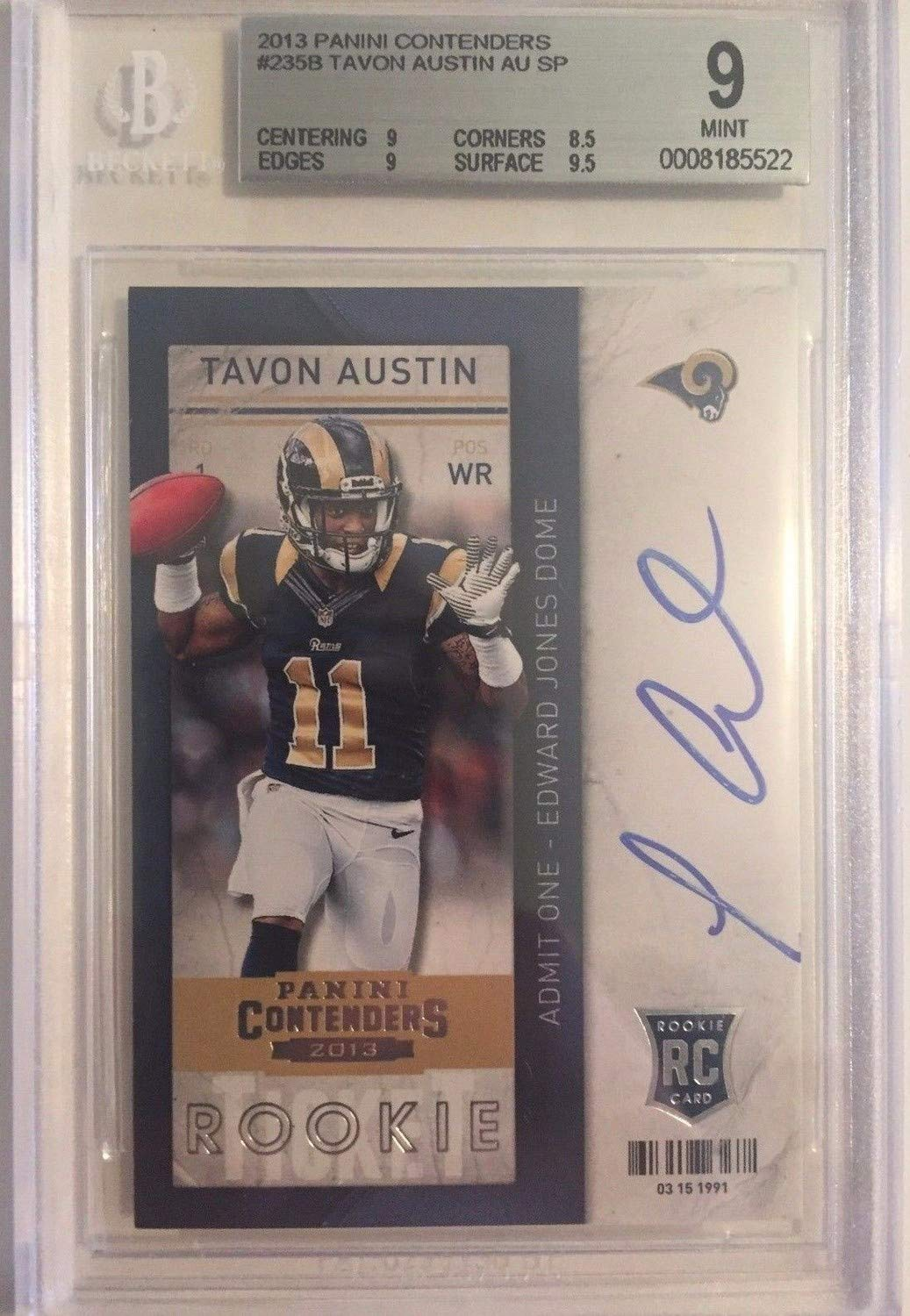 Tavon Austin Autographed Signed 2013 Panini Contenders Rookie Ticket Autographed Signed #235 Rc Bgs 9 Mint Certified Authentic