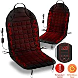 Zone Tech Car Heated Seat Cover Cushion Hot Warmer - Fireproof NEW and IMPROVED 2019 Version 2 pack 12V Heating Warmer Pad Cover Perfect for Cold Weather and Winter Driving