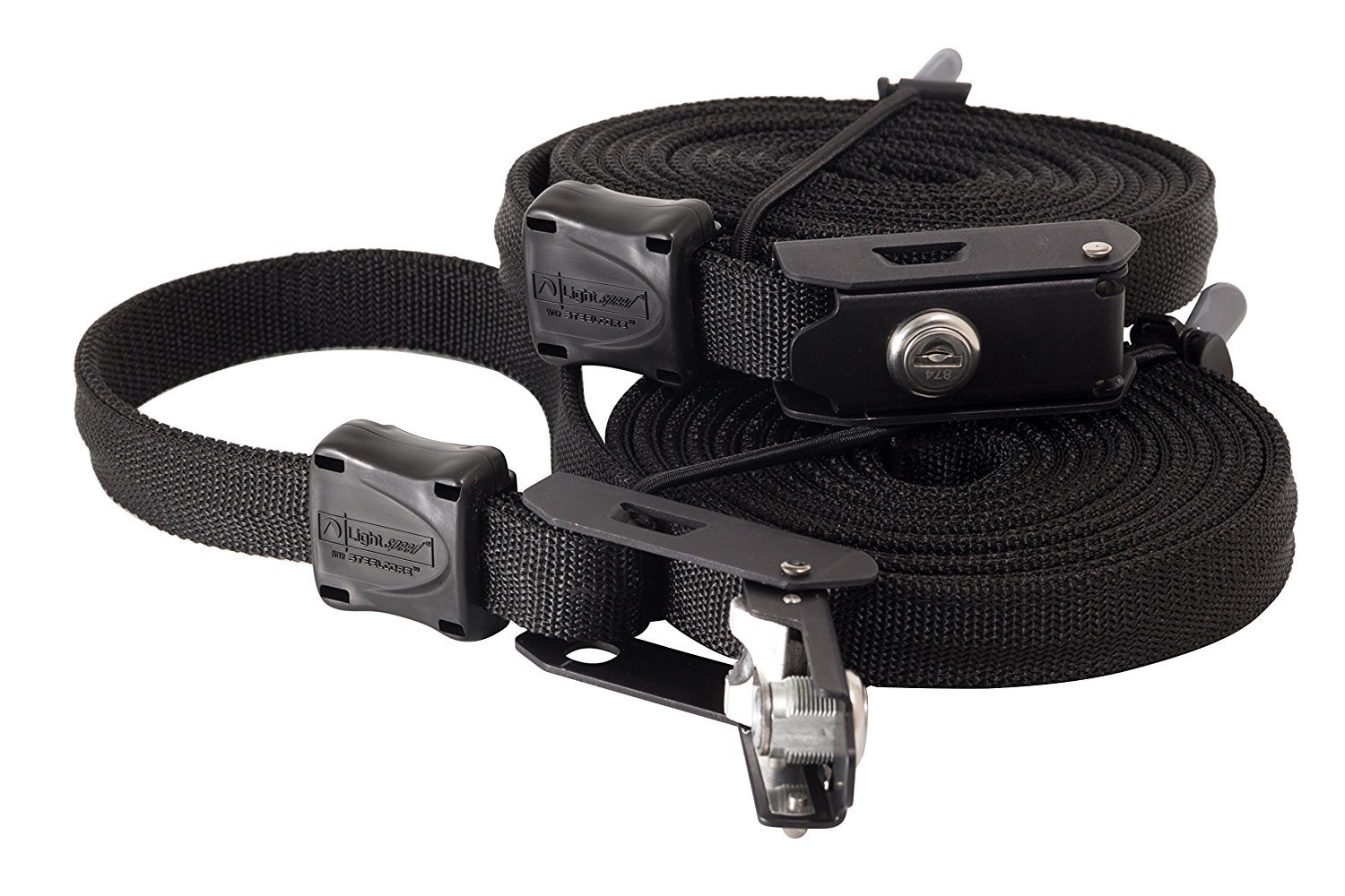 Lockable Tie Down Security Lock Lashing Strap with Steel Core by Lightspeed Outdoors, (10' Black, 2 Pack) by Lightspeed Outdoors (Image #3)