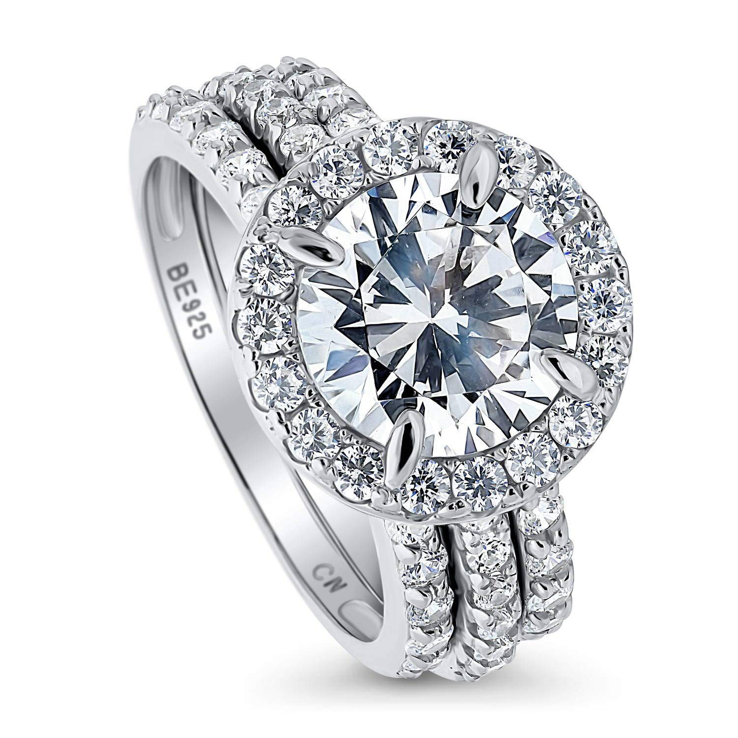 BERRICLE Rhodium Plated Sterling Silver Round Cubic Zirconia CZ Halo Engagement Wedding Ring Set 4.08 CTW Size 4.5
