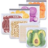 Reusable Gallon Freezer Bags - 7 Pack Reusable Food Storage Bags, Reusable Zipper Bags Leakproof Silicone & Plastic Free for