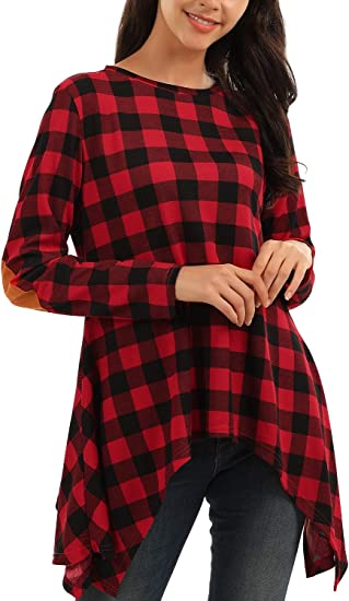 Blooming Jelly Womens Crewneck Sweatshirt Plaid Elbow Patches Long Sleeve Shirt Top