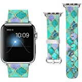 Compatible with Apple Watch Band 44mm 2018, Watchbands for iWatch 42mm, Leather Bands Compatible with Apple Watch 42mm Nike+ Series 4/3/2/1 Sports Edition Vintage Turquoise Pattern