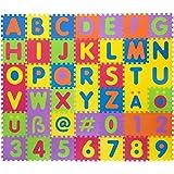 Tappetino puzzle in gommapiuma | Tappetino in gommapiuma privo di materiali pericolosi | Tappetino da gioco con lettere e numeri | 42 tasselli e 106 pezzi singoli |