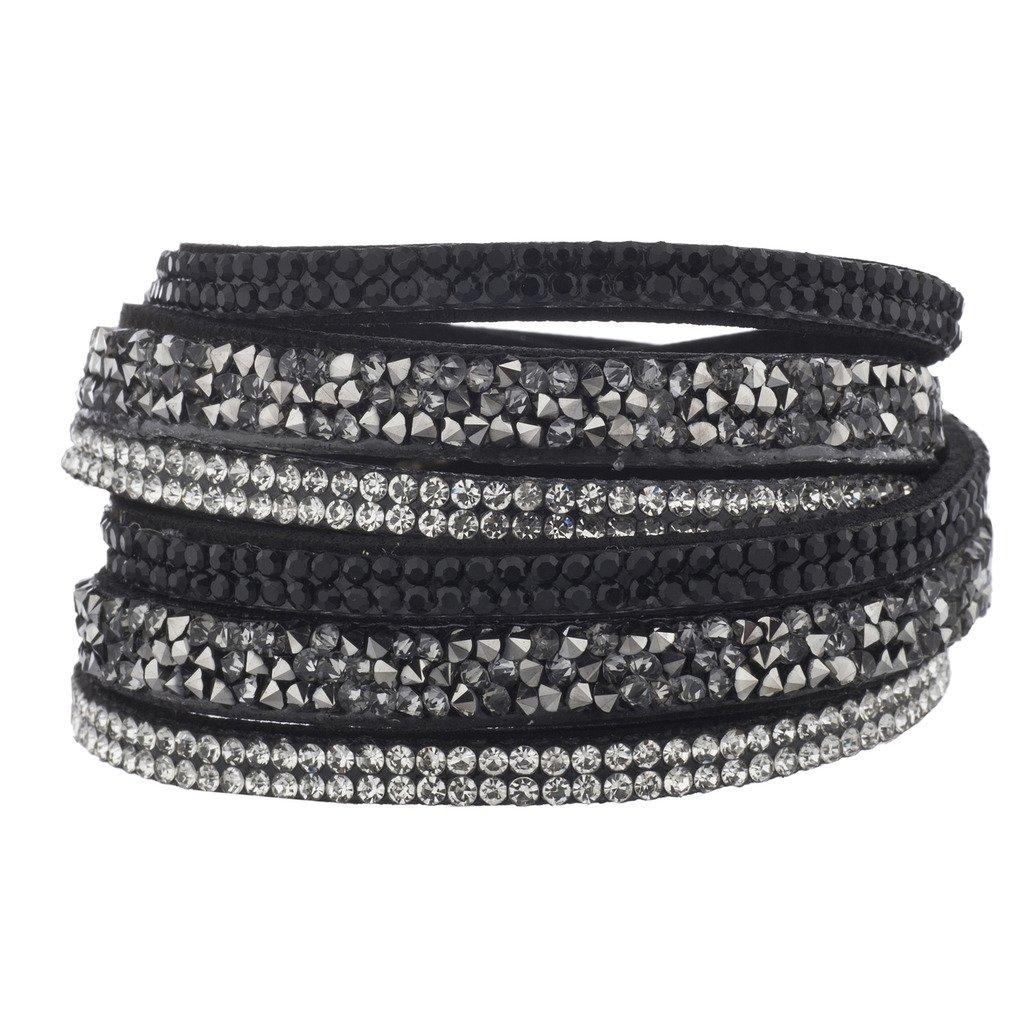 Lux Accessories Black Suede Cluster Stone Crystal Jet Double Row Wrap Bracelet B209874-3-B815