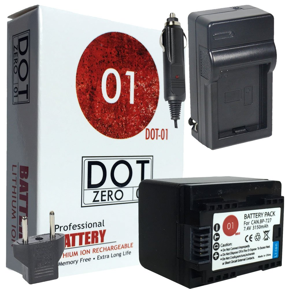 DOT-01 Brand Canon HF R800 Battery and Charger for Canon HF R800 camcorder and Canon HFR800 Battery and Charger Bundle for Canon BP718 BP-718