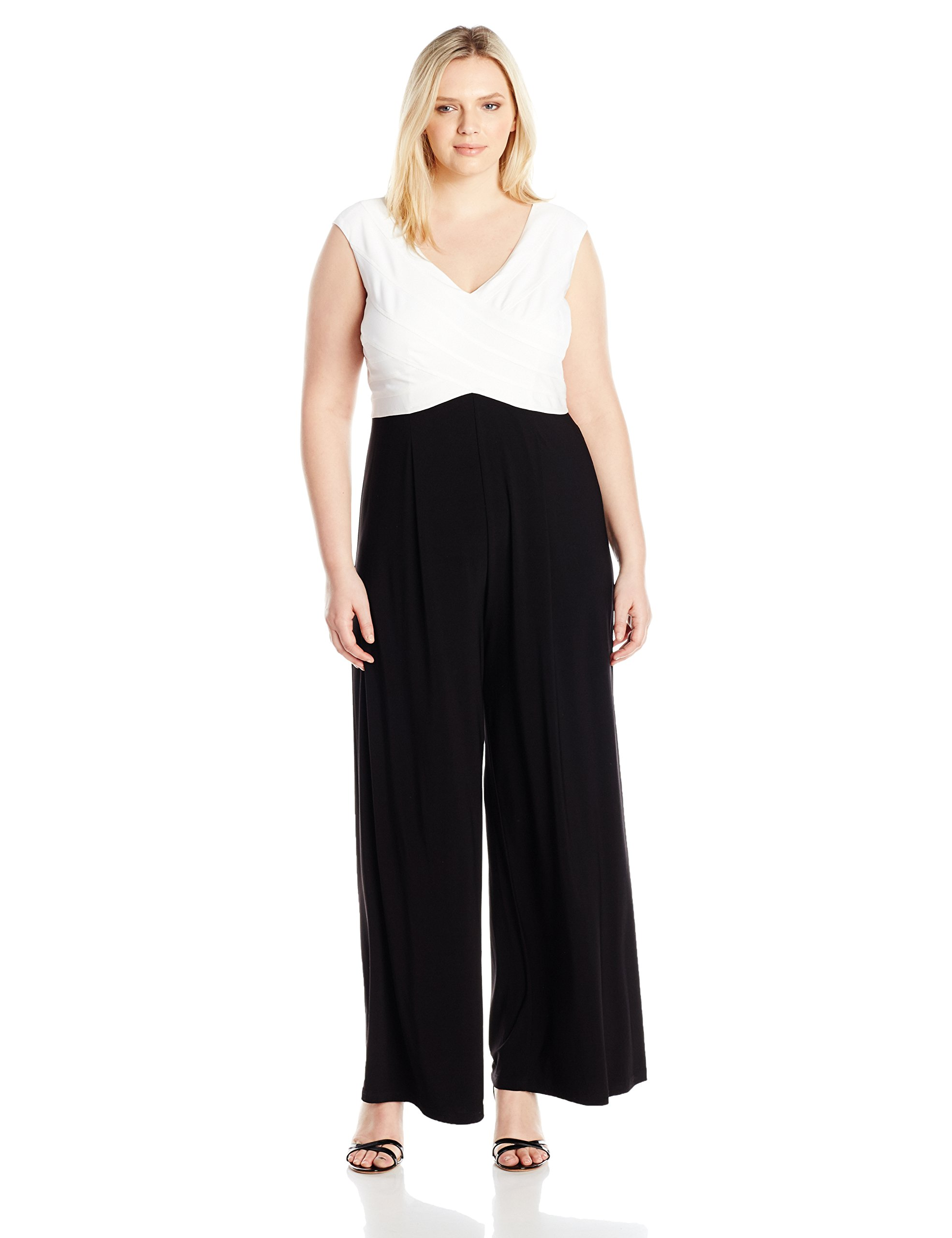 Adrianna Papell Women's Plus Size Colorblocked Matte Jersey Jumpsuit With Banded Top, Ivory/Black, 16W
