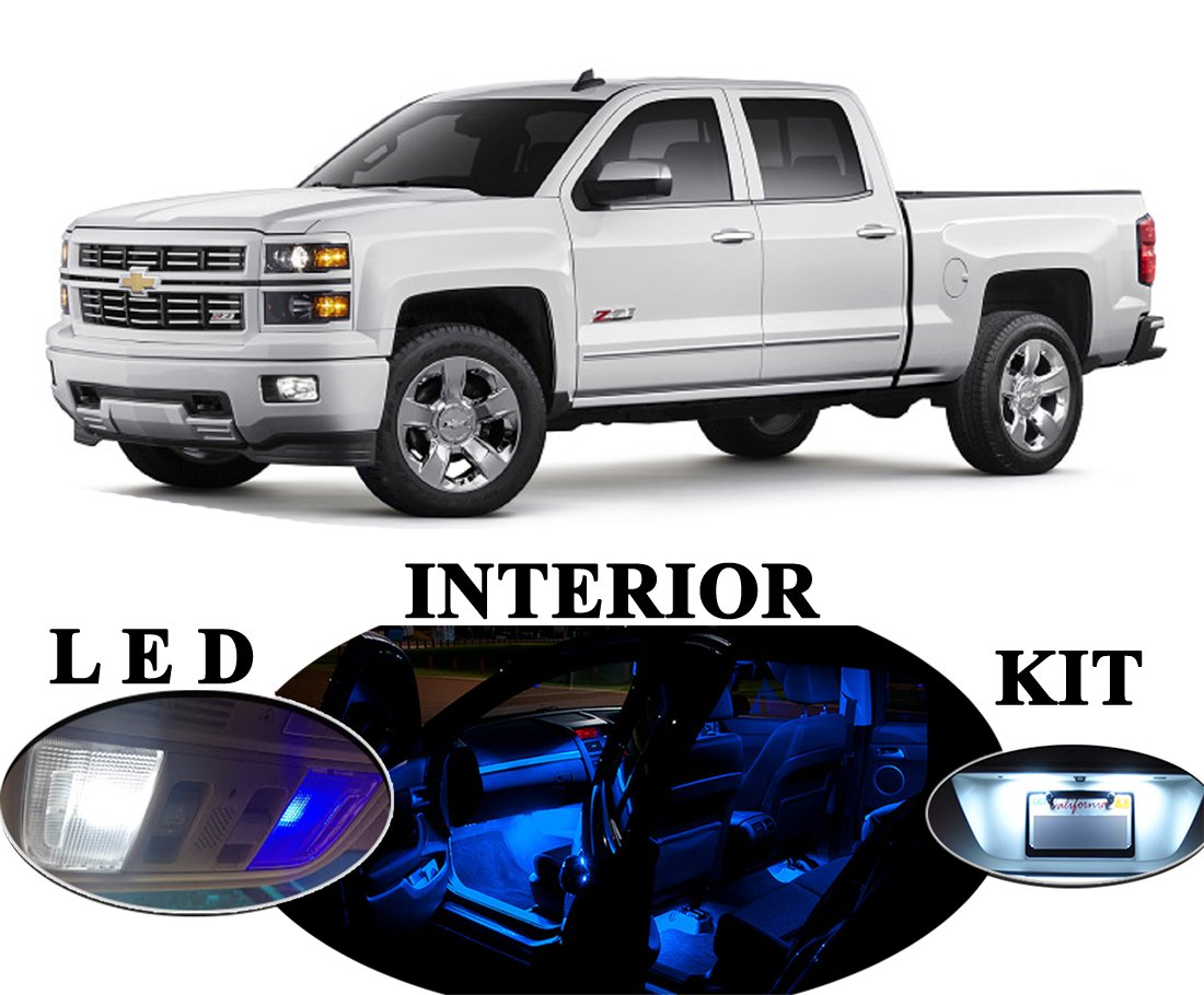 Blue Chevy Silverado >> Led Lights For Chevrolet Chevy Silverado Premium Blue Led Package Upgrade Interior License Plate Tag Vanity Sunvisor 13 Pieces