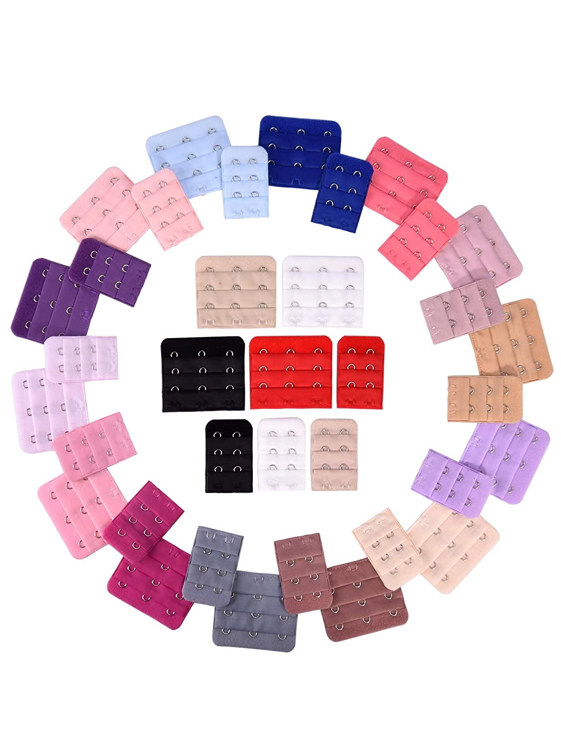 eBoot 36 Pieces Bra Extenders Brassiere Extension Hooks, 2 and 3 Hooks, 18 Color