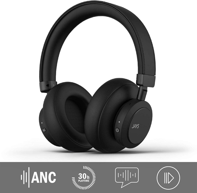 JAYS Auriculares Cancelación de Ruido Activa Bluetooth - q-Seven - Negro - Cascos Inalámbricos con Micrófono