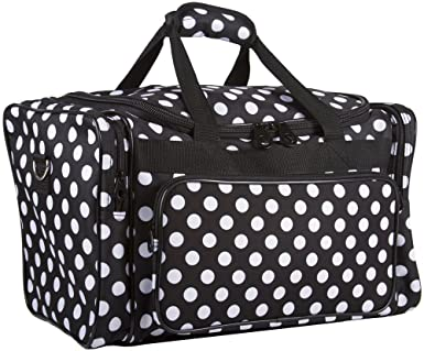 Ever Moda Black and White Polka Dot Duffle Bag
