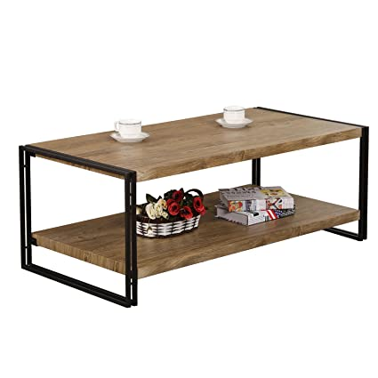 FIVEGIVEN Rustic Industrial Coffee Table For Living Room Coffee Table With  Storage Shelf, Sonoma Oak