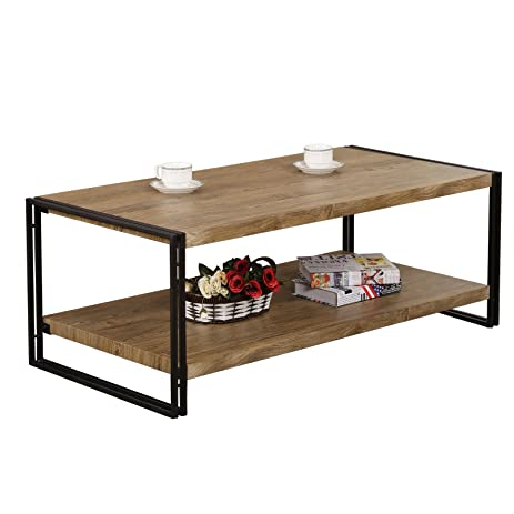 Amazon.com: FIVEGIVEN Rustic Industrial Coffee Table for Living ...