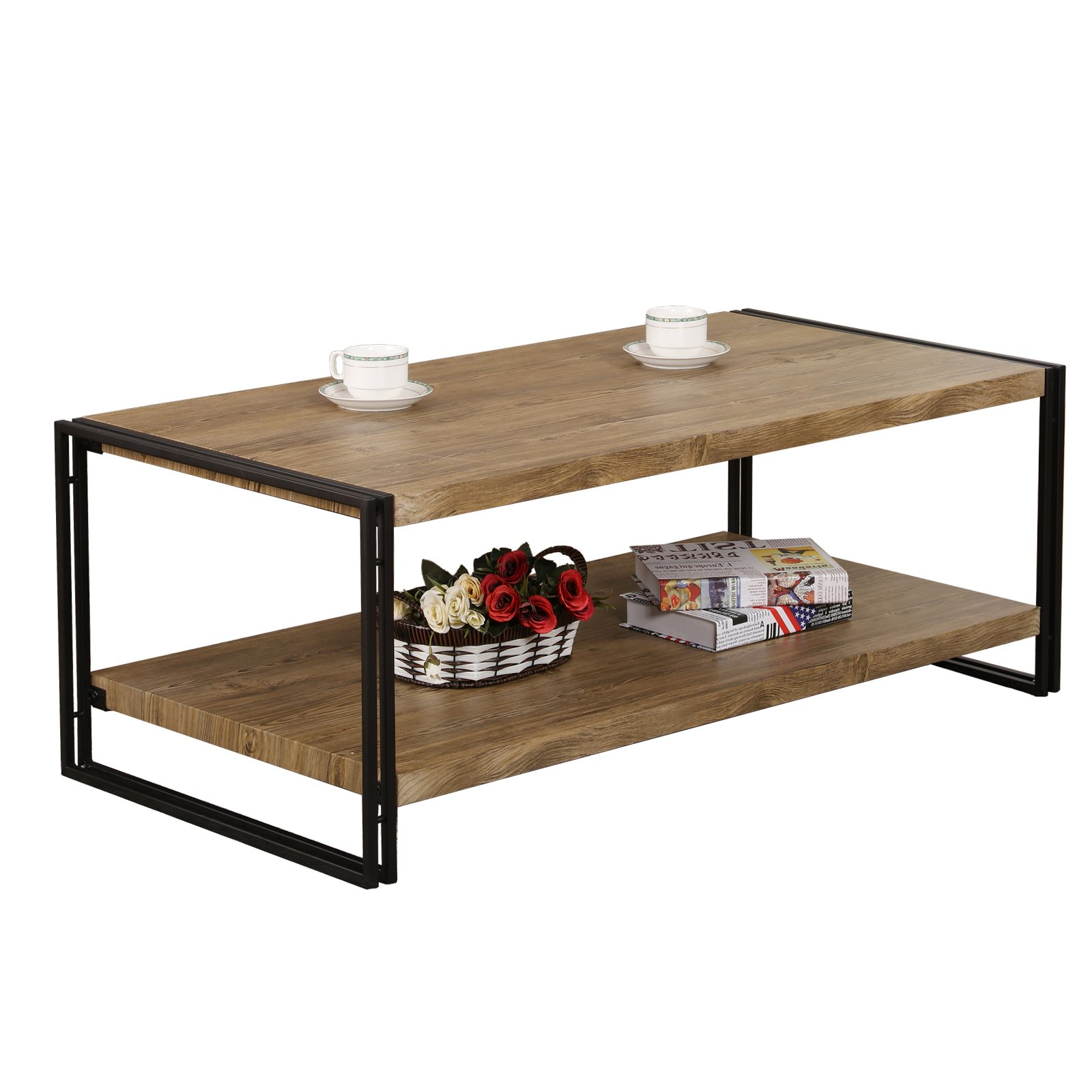 FIVEGIVEN Coffee Table for Living Room Rustic Industrial Coffee Table with Storage, Wood and Metal, Sonoma Oak, Rectangular