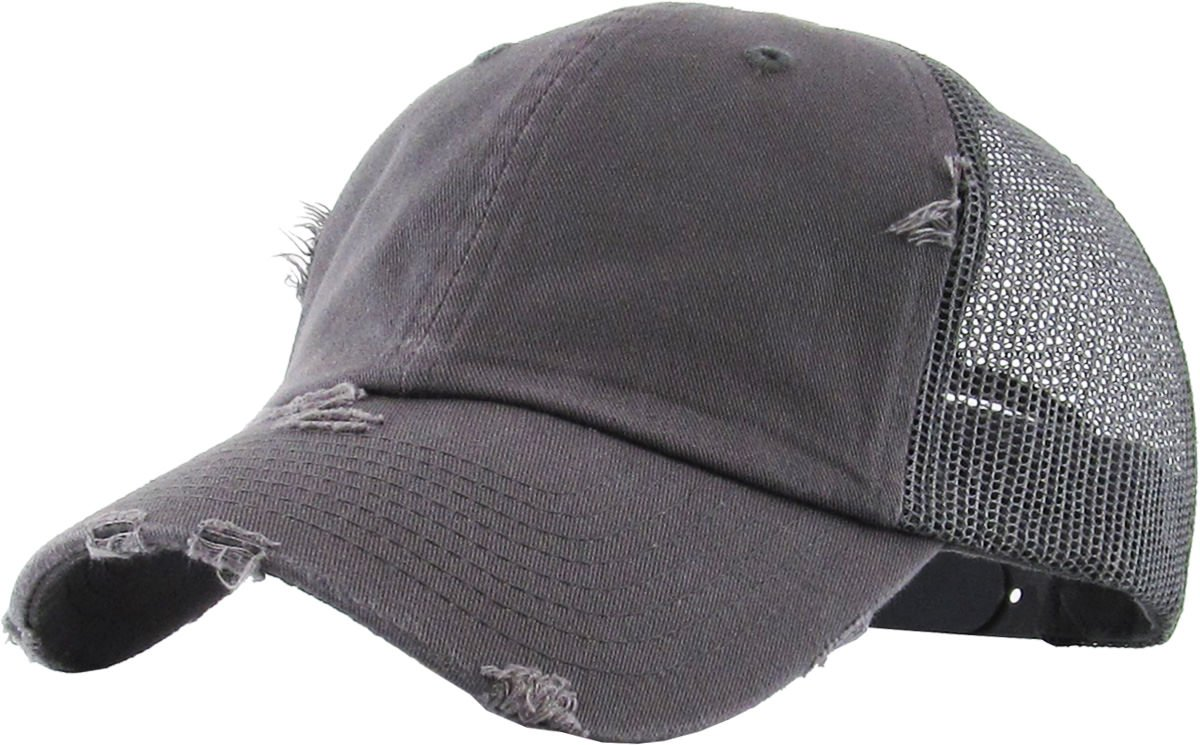 9c215c31d30 Details about H-6140-K70 Distressed Low Profile Vintage Polo Style Trucker  Dad Hat - Dark Grey