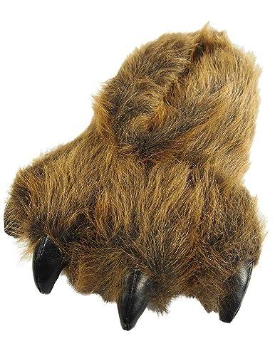 cb53ba7c190 Wishpets Medium Brown Grizzly Bear Paw Slippers