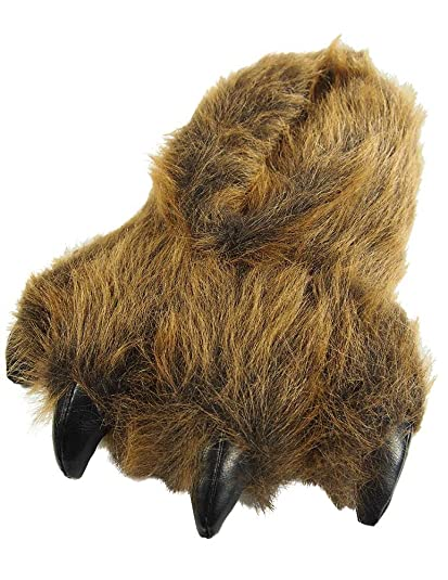 79366137521 Wishpets Grizzly Bear Paw Slippers
