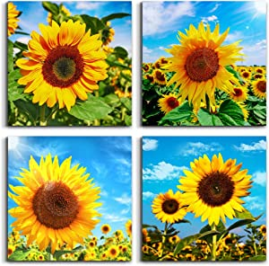 4 Piece Framed Canvas Wall Art for Living Room Bathroom Wall Decor Modern Kitchen Wall Paintings Restaurant Bedroom Decorations yellow Sunflower flowers pictures Inspiration Artwork for Home Walls