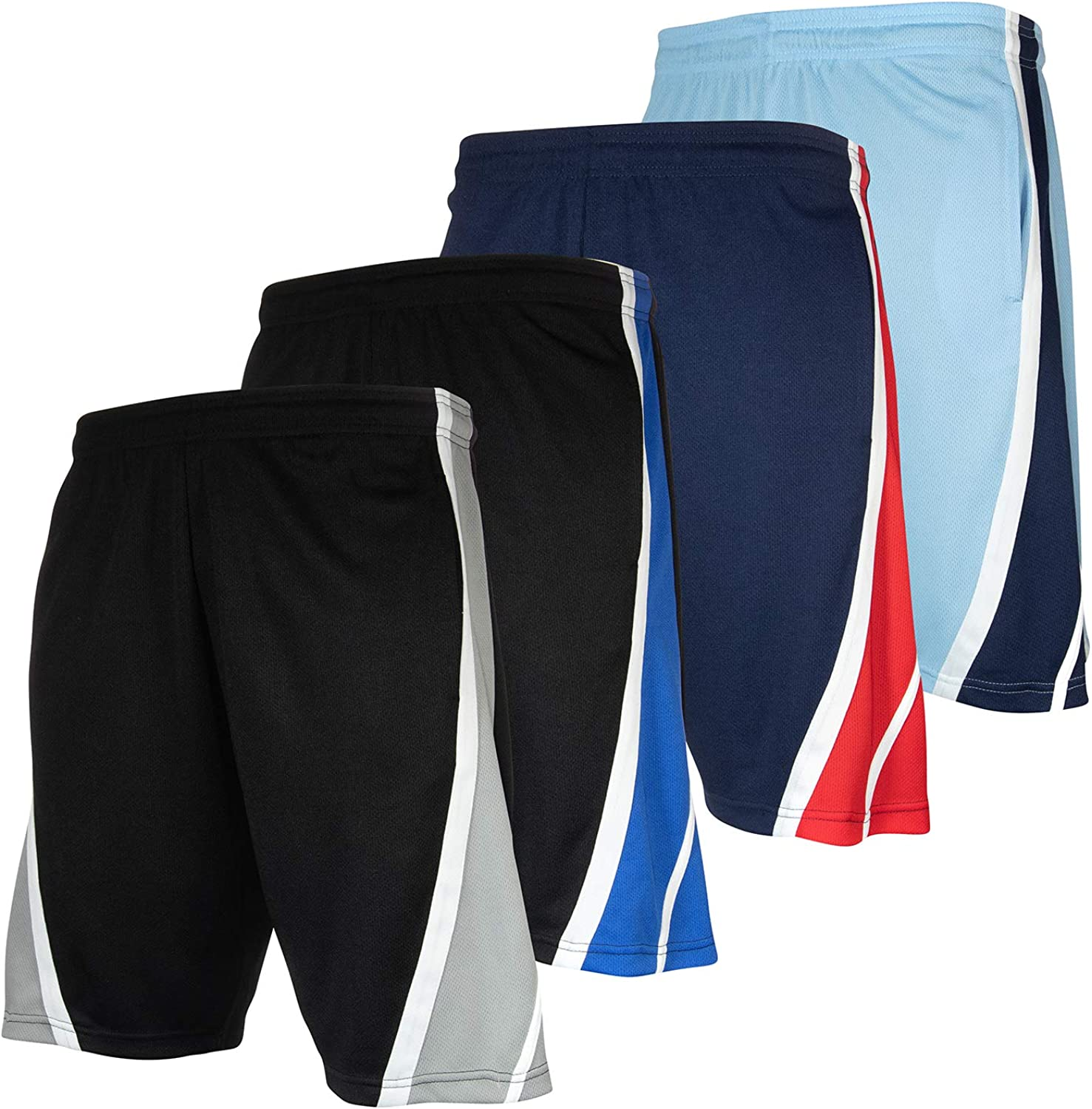 High Energy Long Basketball Shorts for Men, 4 Pack, Sports, Fitness, and Exercise, Athletic Performance