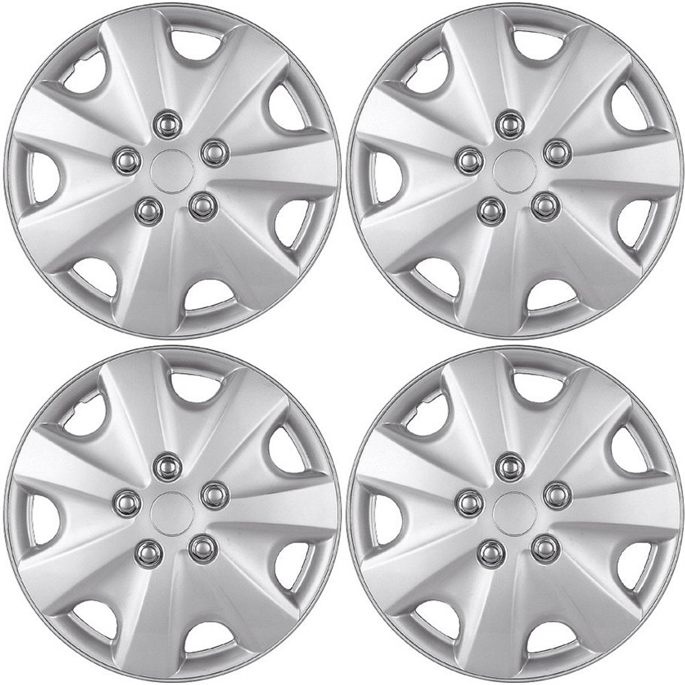 Hub-caps for 03-07 Honda Accord (Pack of 4) Wheel Covers 15 inch Snap On Silver OxGord WCHC-55058-15SL