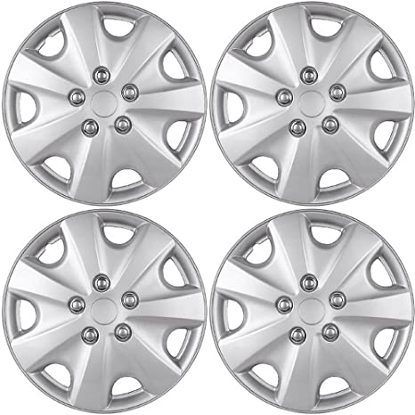 15 inch Hubcaps Best for 2003-2007 Honda Accord - (Set of 4) Wheel Covers 15in Hub Caps Silver Rim Cover - Car Accessories for 15 inch Wheels - Snap On ...