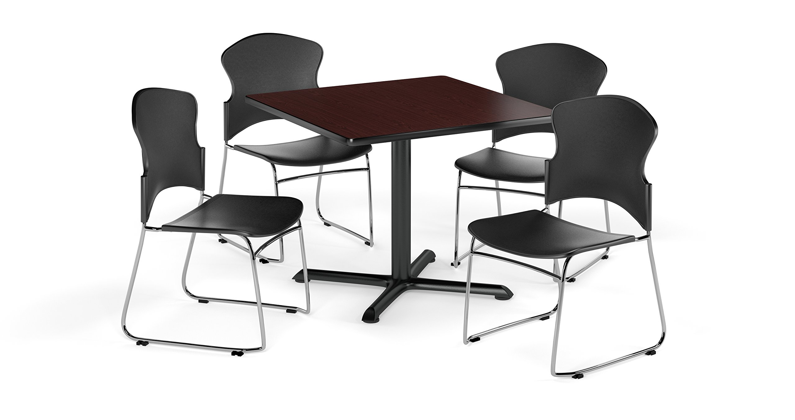 OFM PKG-BRK-034-0010 Breakroom Package, Mahogany Table/Black Chair