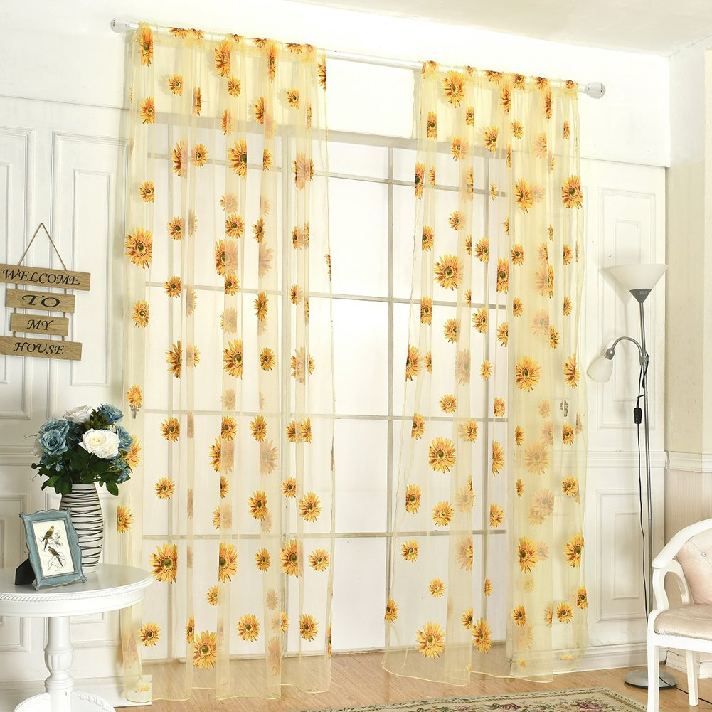 Fedi Apparel Peony Flower Scarf Sheer Voile Door Window Curtains Drape Panel Valances (Yellow(Sunflower))