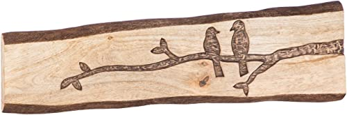Cape Craftsmen Mango Wood Hand Carved Bird on Branch Wooden Wall Plank D cor