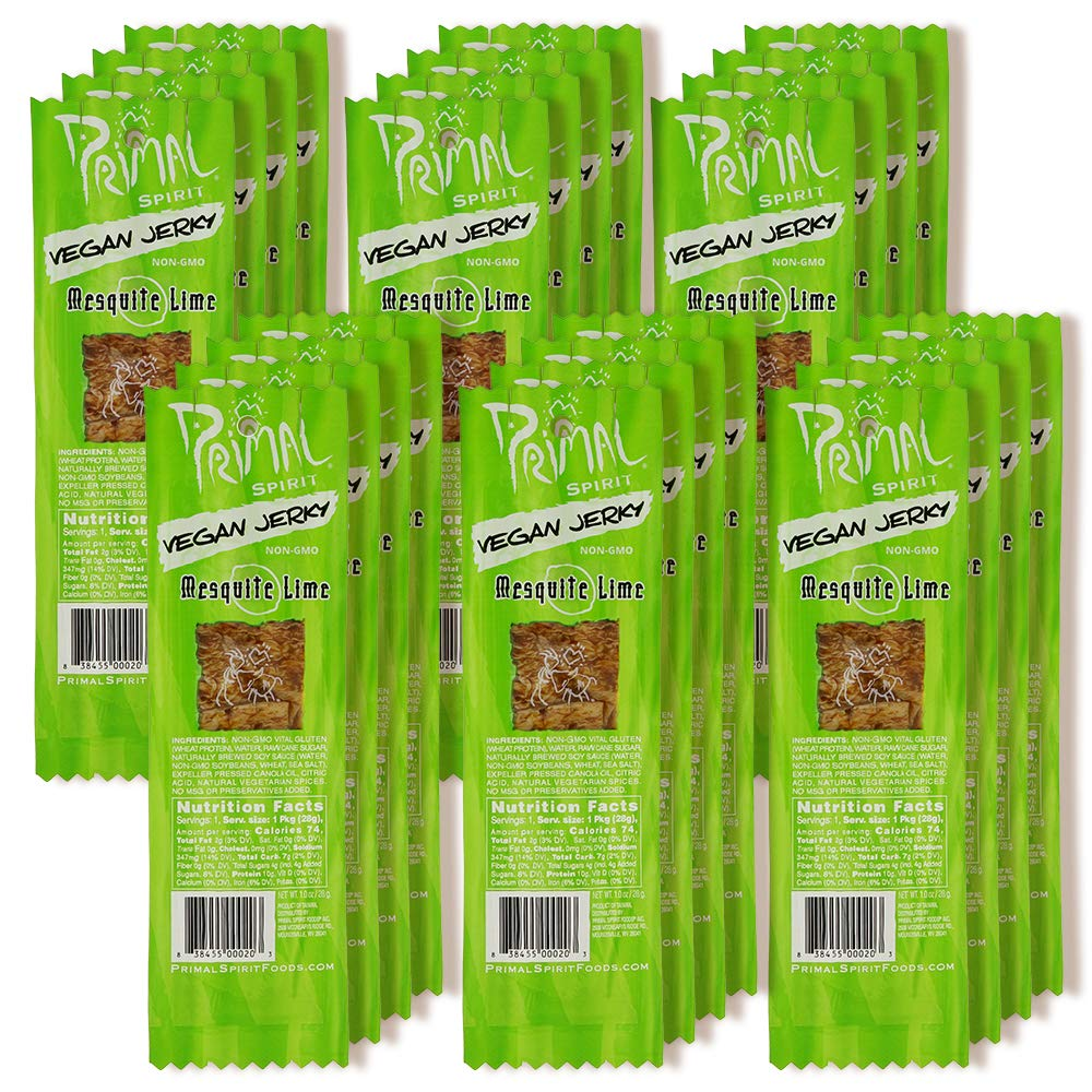 """Primal Spirit Vegan Jerky – """"Classic Flavor"""" – Mesquite Lime, 10 g. Plant Based Protein, Certified Non-GMO, No Preservatives, Sports Friendly Packaging (24 Pack, 1 oz)"""