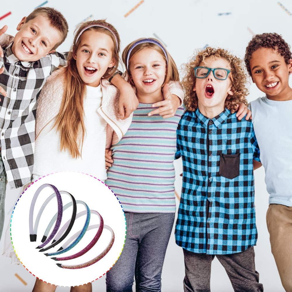 5 colori Yangfei 10 Pezzi Cerchietti Glitter per Capelli Cerchietti per Bambina in Plastica Cerchietti con Denti Cerchietti Multicolori per Bambine e Ragazze