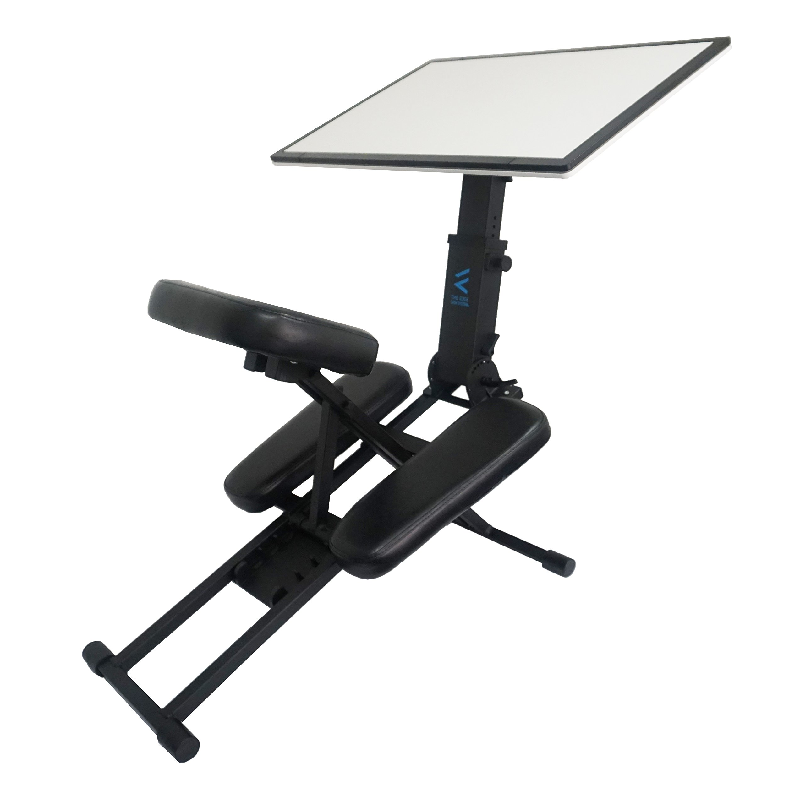 The Edge Desk Kneeling Artists Chair / Desk Combination With Adjustable Drafting Table. The Portable Design is Ideal for Use as a Mobile Art Easel to Maximize Productivity Indoors and Outdoors