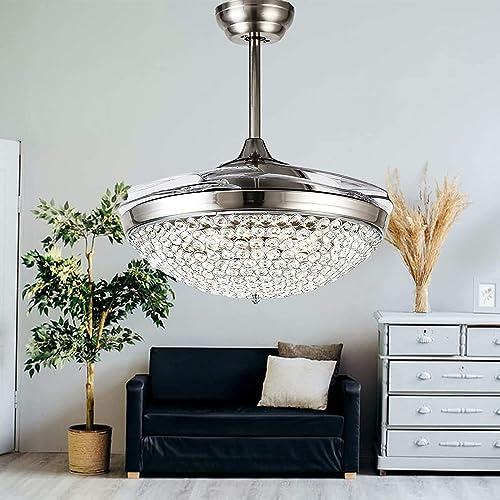 Kankanray 42'' Silver Crystal Ceiling Fan