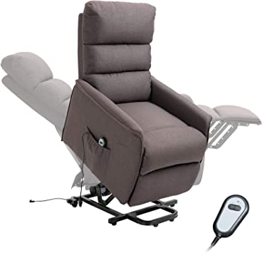 Amazon Com Homcom Power Lift Assist Recliner Chair For Elderly With Wheels And Remote Control Linen Fabric Upholstery Brown Furniture Decor