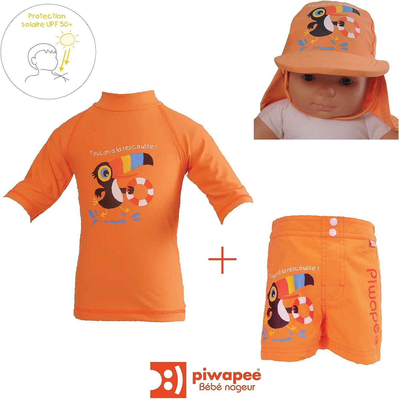 Toucan Mandarine /Top b/éb/é Nageur Lycra Anti UV Protection SPF50/ Piwapee/