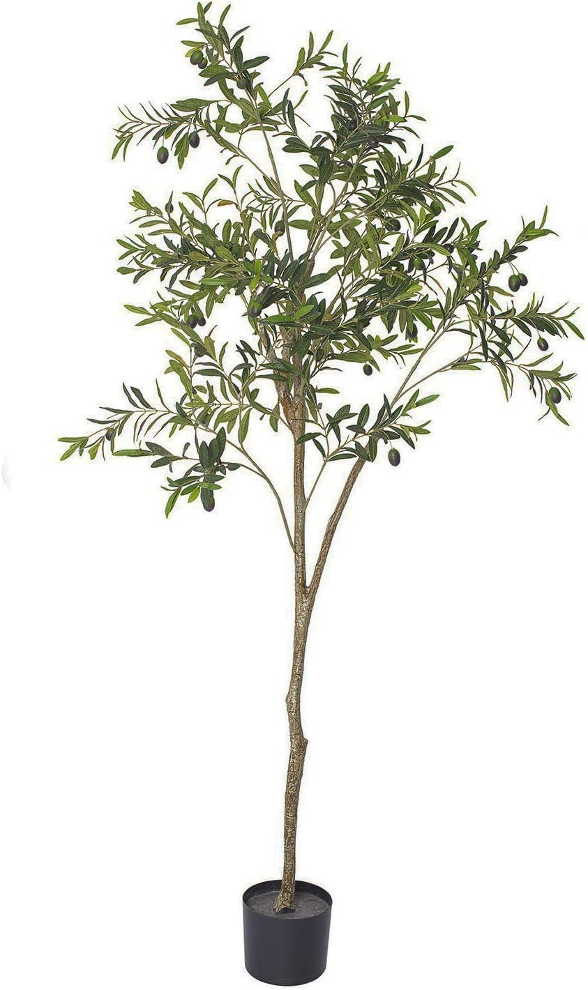 THE BLOOM TIMES 6 FT Potted Faux Olive Tree Silk Artificial Plants Outdoor in Pots Fake Plants Indoor for Home House Office Decor