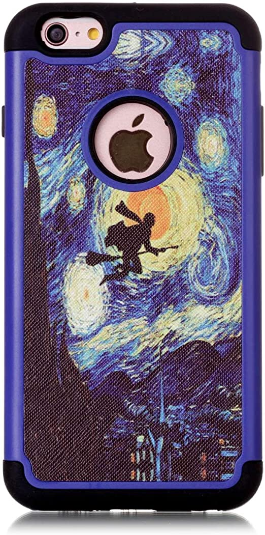 iPhone 6 Plus Case, iPhone 6S Plus Case, Van Gogh Starry Night Pattern Shock-Absorption Hard PC and Inner Silicone Hybrid Dual Layer Armor Defender ...
