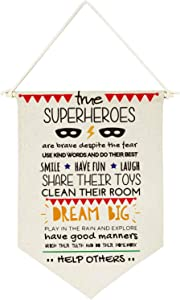 chillake Inspirational Superhero Rules Quote Banner Flag Wall Hanging Decor Gift for Kids boy Girl Nursery Room Front Door Decoration
